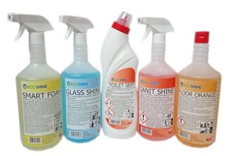 Eco Shine Zestaw produktów do Sprzatania Domu Kuchnia Łazienka Okna Podłoga Prysznic